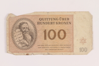 2005.517.38 front Theresienstadt ghetto-labor camp scrip, 100 kronen note  Click to enlarge