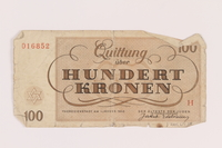 2005.517.38 back Theresienstadt ghetto-labor camp scrip, 100 kronen note  Click to enlarge
