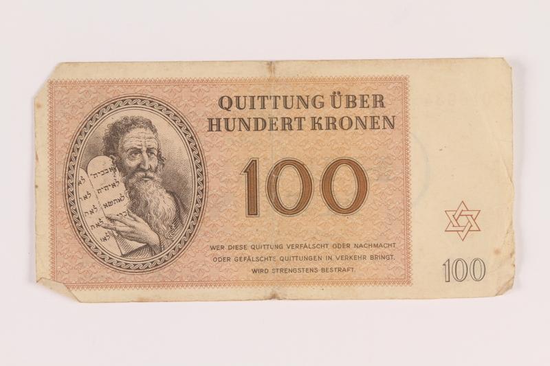 2005.517.39 front Theresienstadt ghetto-labor camp scrip, 100 kronen note