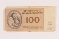 2005.517.39 front Theresienstadt ghetto-labor camp scrip, 100 kronen note  Click to enlarge