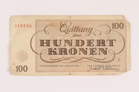 2005.517.39 back Theresienstadt ghetto-labor camp scrip, 100 kronen note  Click to enlarge