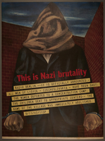2006.34.1 front Ben Shahn poster of a hooded chained man issued to protest Nazi destruction of Lidice  Click to enlarge