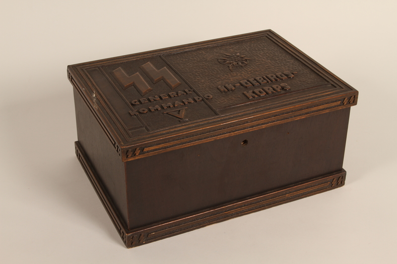 2005.525.2 closed Engraved wooden box presented to a Lieutenant General of the SS by his troops