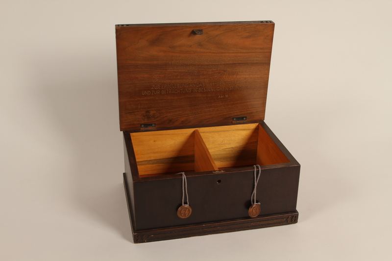2005.525.2 open Engraved wooden box presented to a Lieutenant General of the SS by his troops