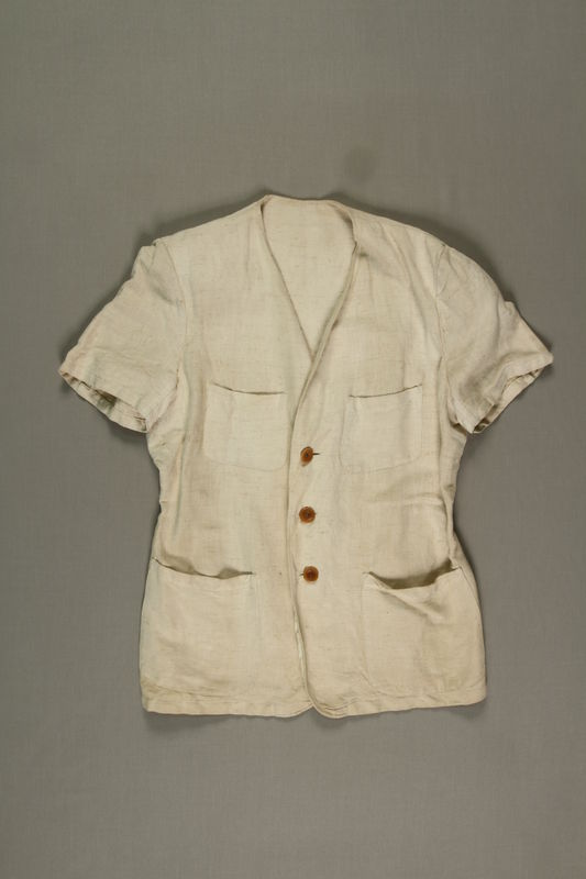 2005.369.3 front Man's short-sleeved linen jacket made in a displaced person's camp