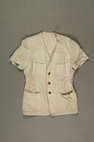 2005.369.3 front Man's short-sleeved linen jacket made in a displaced person's camp  Click to enlarge