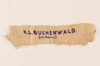 2005.567.3 front Handmade prisoner badge worn by a Latvian Jewish concentration camp inmate  Click to enlarge