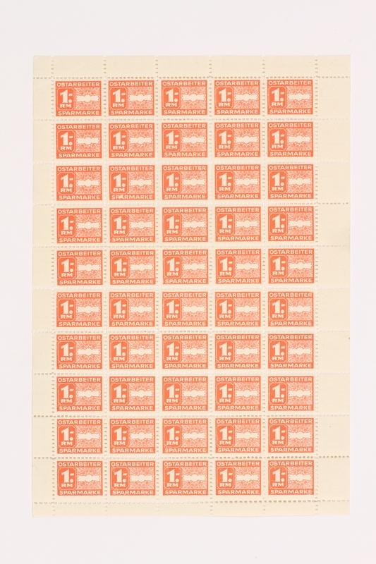 2005.506.12 front Ostarbeiter [Eastern worker] Sparmarke [savings stamp] block, 1 Reichsmark