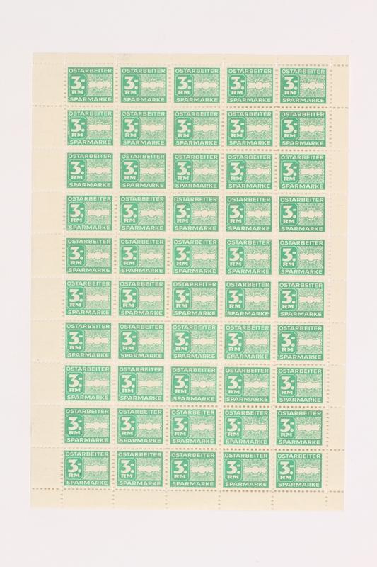2006.506.13 front Ostarbeiter [Eastern worker] Sparmarke [savings stamp] block, 3 Reichsmark