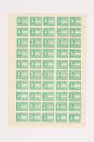 2006.506.13 front Ostarbeiter [Eastern worker] Sparmarke [savings stamp] block, 3 Reichsmark  Click to enlarge