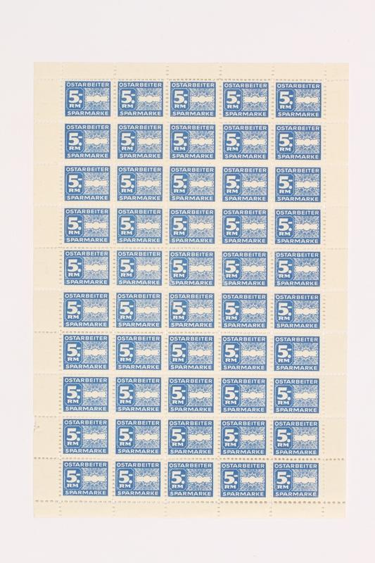 2005.506.14 front Ostarbeiter [Eastern worker] Sparmarke [savings stamp] block, 5 Reichsmark