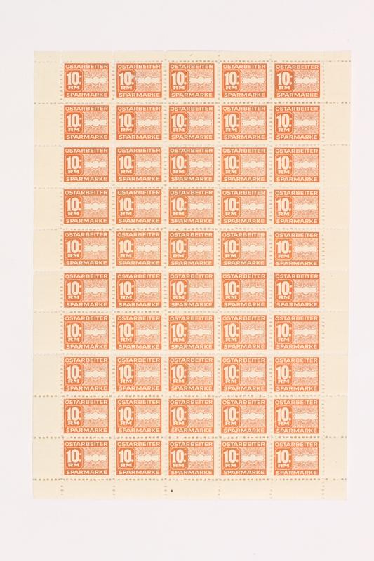 2005.506.15 front Ostarbeiter [Eastern worker] Sparmarke [savings stamp] block, 10 Reichsmark