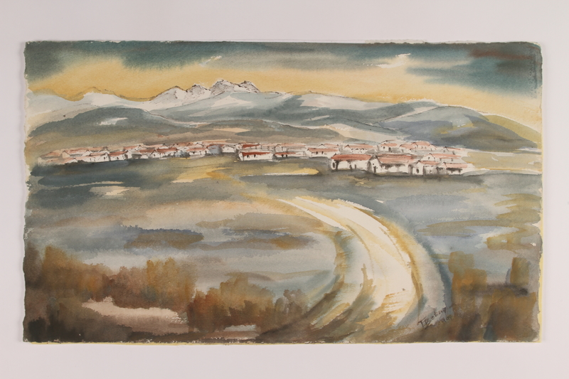 2006.154.1 front Watercolor of Rivesaltes internment camp created postwar by a nurse/rescuer who worked there