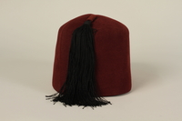 2006.167.1 back Waffen-SS Muslim red fez found by a US soldier at Ohrdruf concentration camp  Click to enlarge
