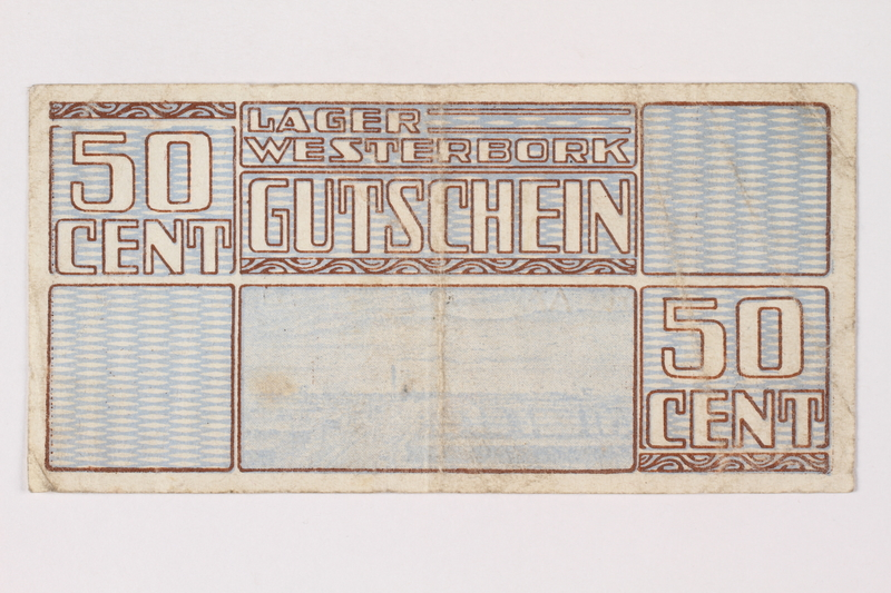 1988.64.8.30 front Westerbork transit camp voucher, 50 cent note