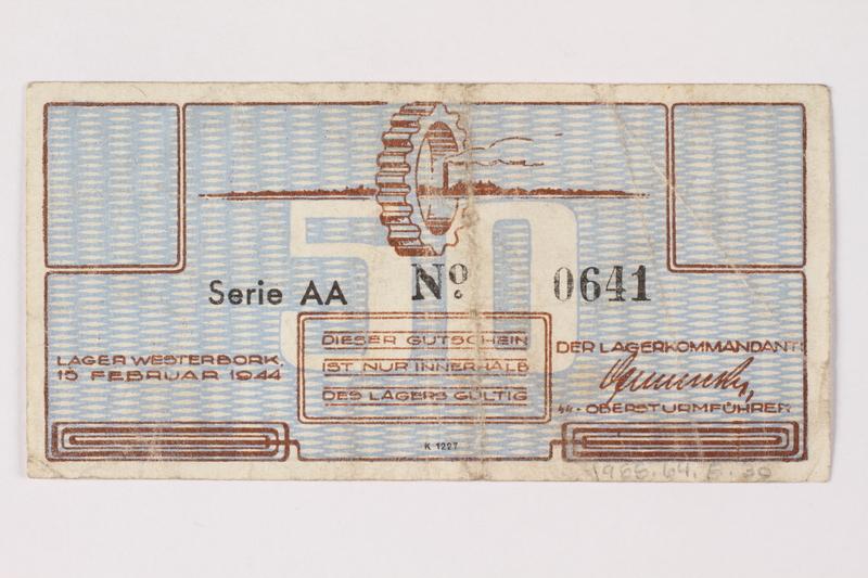 1988.64.8.30 back Westerbork transit camp voucher, 50 cent note
