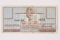 1988.64.8.30 back Westerbork transit camp voucher, 50 cent note  Click to enlarge