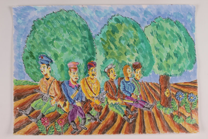 2006.125.21 front Autobiographical painting of armed partisans resting in a tilled field