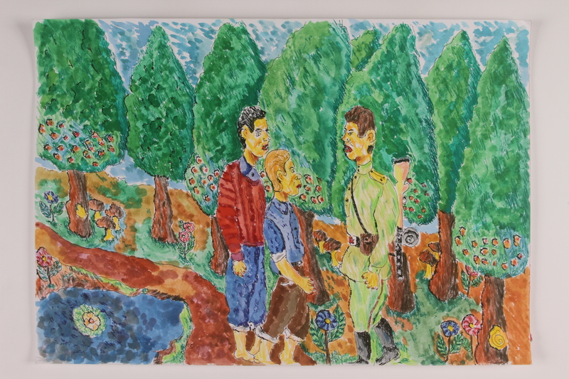 2006.125.20 front Autobiographical watercolor featuring two youthful partisans meeting with a uniformed soldier