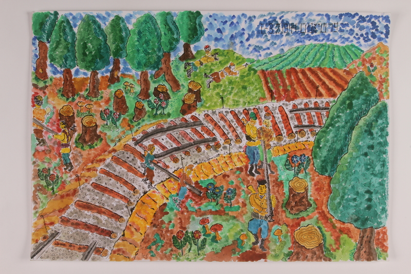 2006.125.19 front Autobiographical watercolor of a partisan patrol removing train rails