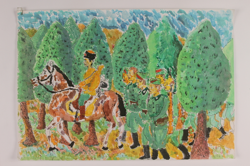 2006.125.17 front Autobiographical painting of a partisan on horseback leading soldiers on a march through the forest