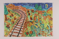 2006.125.16 front Autobiographical watercolor of German soldiers moving toward train tracks at night  Click to enlarge