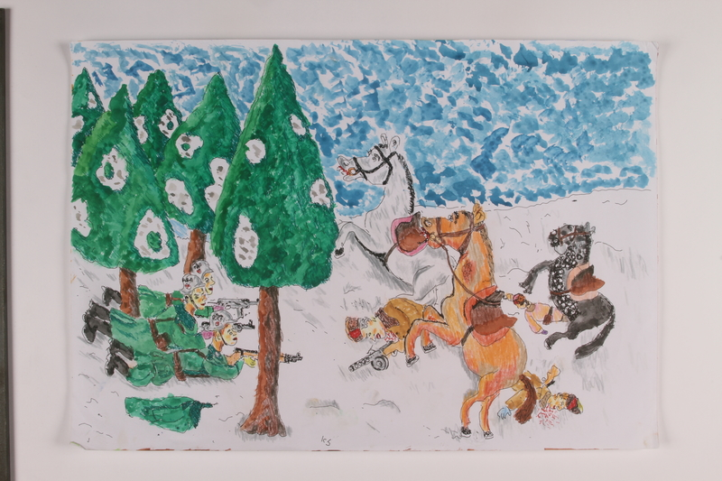 2006.125.15 front Autobiographical painting of German soldiers attacking in the snow