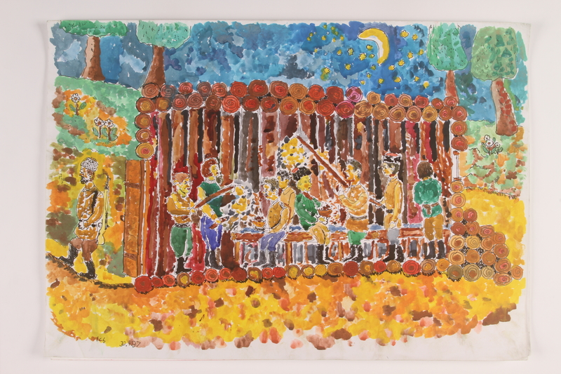 2006.125.14 front Painting of partisans sharing a meal inside their shelter in the forest