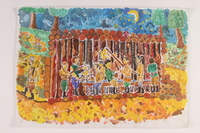 2006.125.14 front Painting of partisans sharing a meal inside their shelter in the forest  Click to enlarge