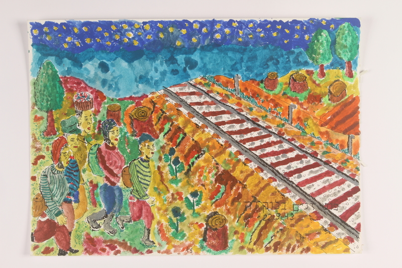 2006.125.6 front Autobiographical painting of partisans approaching train tracks near Lokda