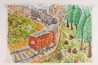 2006.125.5 front Autobiographical painting of partisans blowing up a Nazi train in a forest near Vilna  Click to enlarge