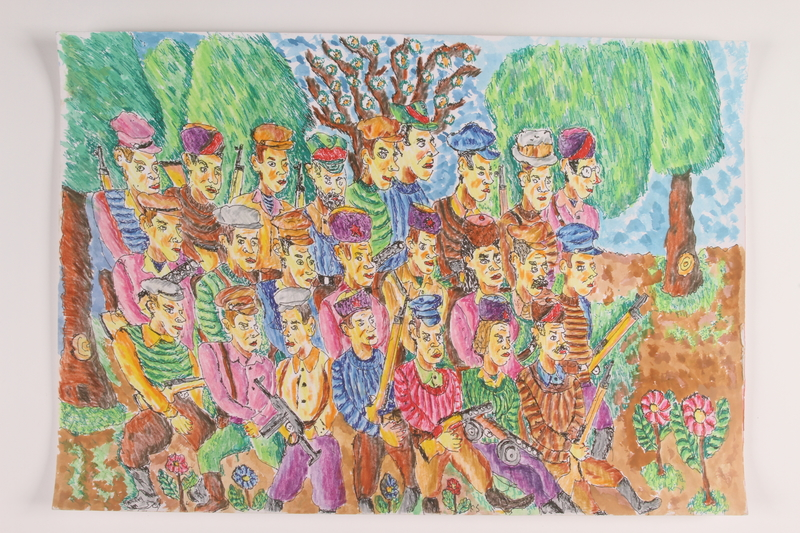 2006.125.4 front Autobiographical painting of a large group of armed partisans marching in a forest near Vilna