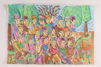 2006.125.4 front Autobiographical painting of a large group of armed partisans marching in a forest near Vilna  Click to enlarge