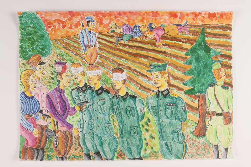 2006.125.3 front Autobiographical painting of partisans holding German prisoners at gunpoint after battle
