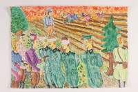2006.125.3 front Autobiographical painting of partisans holding German prisoners at gunpoint after battle  Click to enlarge
