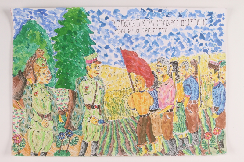 2006.125.2 front Autobiographical painting of partisans led by young boy meeting soldiers near Kiev