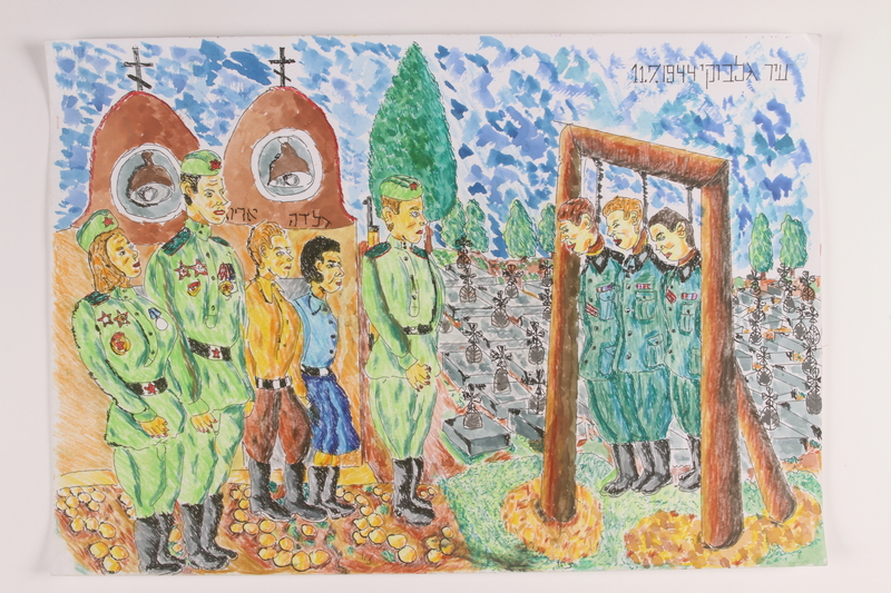 2006.125.1 front Autobiographical painting of partisans and Soviet soldiers view the hanging of 3 German soldiers