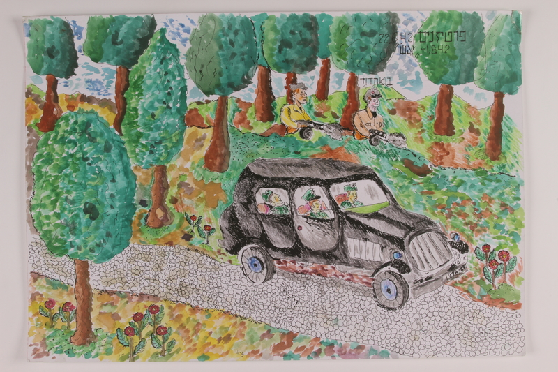 2006.125.57 front Watercolor depicting partisans shooting at Nazi soldiers driving through the forest