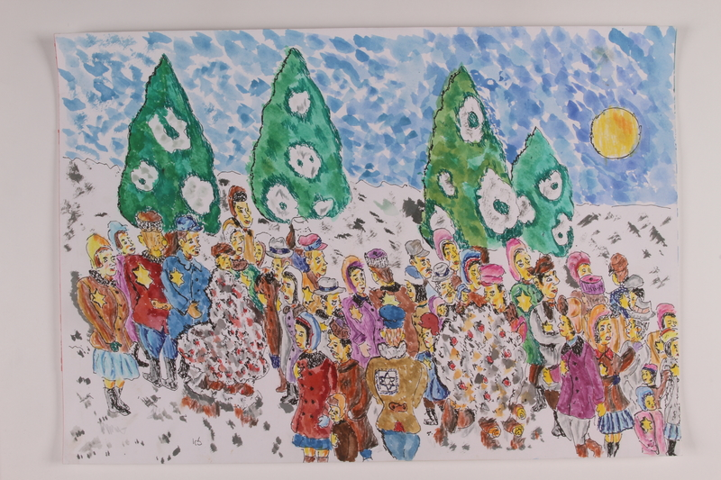 2006.125.56 front Autobiographical watercolor of Jewish partisans around a fire in a snow covered forest