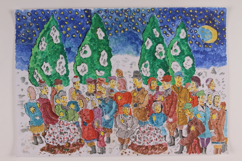 2006.125.55 front Autobiographical watercolor of Jewish partisans around a fire in a snow covered forest at night