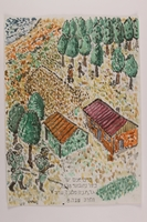 2006.125.54 front Autobiographical watercolor of 2 Nazi soldiers passing a partisan compound in the forest  Click to enlarge