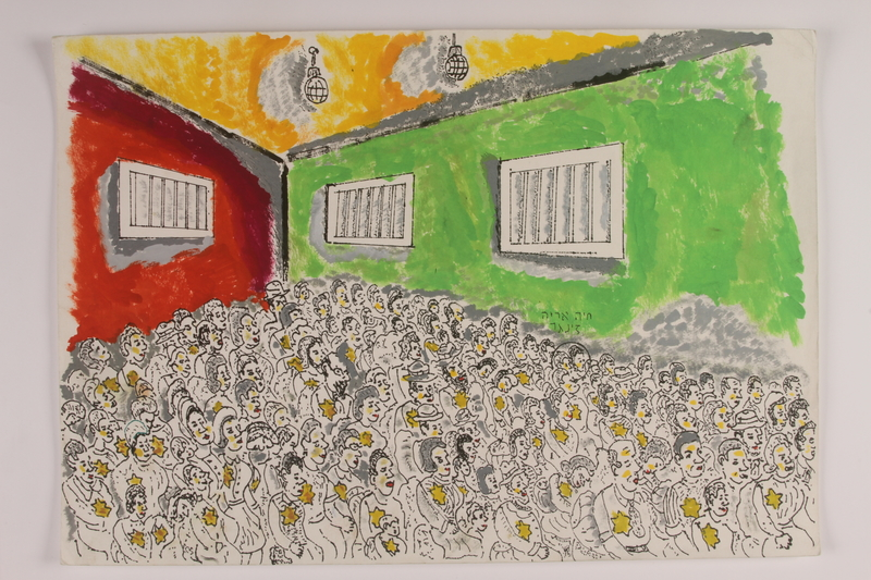 2006.125.52 front Watercolor of Jewish children, men, and women squeezed into a room with large vents
