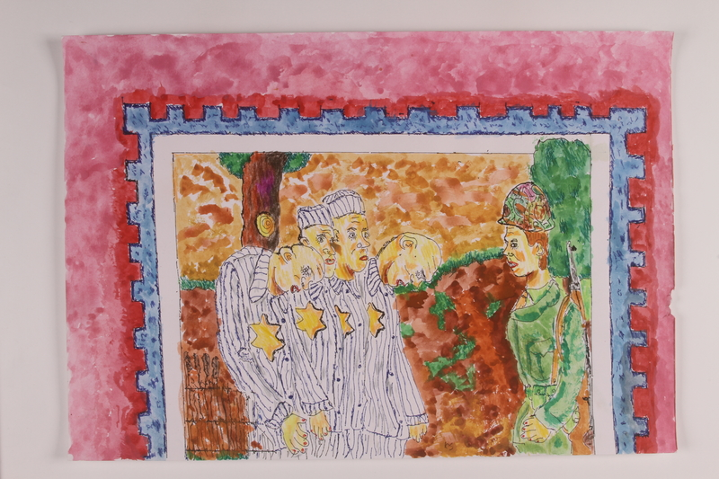 2006.125.51 front Watercolor of an imagined scene of a US soldier with a group of concentration camp prisoners