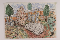 2006.125.50 front Watercolor of concentration camp prisoners cremating bodies in a fire pit  Click to enlarge