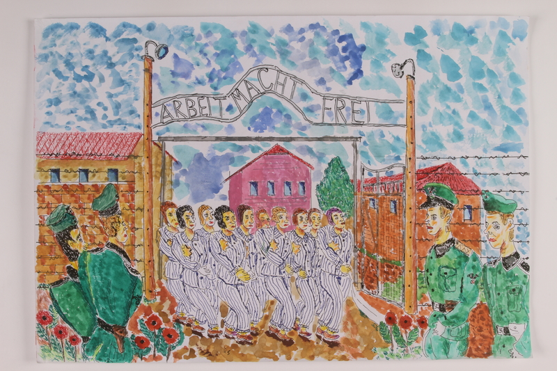 2006.125.49 front Watercolor of female concentration camp inmates marching through the ARBEIT MACHT FREI gate