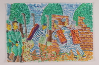 2006.125.48 front Watercolor of concentration camp prisoners building a brick wall near barbed wire  Click to enlarge