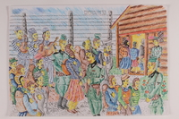 2006.125.22 front Imagined scene of inmates playing violins as Jews are sorted by German guards at a concentration camp  Click to enlarge