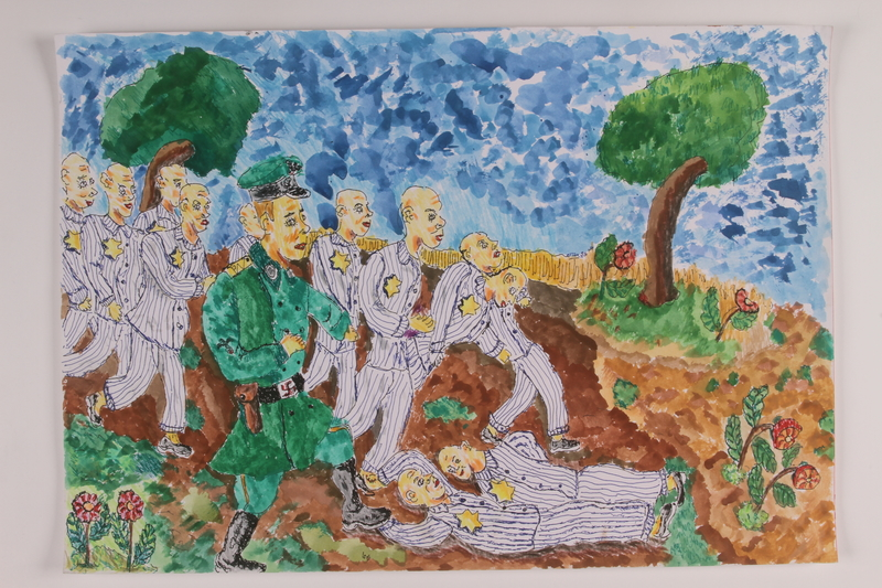 2006.125.47 front Watercolor of concentration camp prisoners being marched through the woods