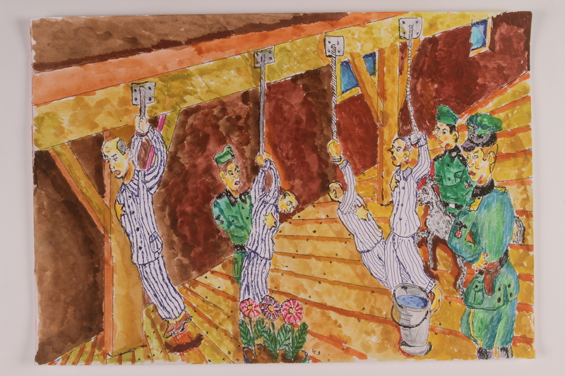 2006.125.45 front Watercolor painting of 4 men being tortured by German guards
