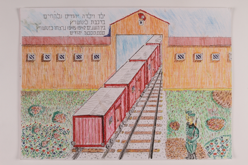 2006.125.23 front Colored pencil drawing of the final red train cars passing through a concentration camp gate